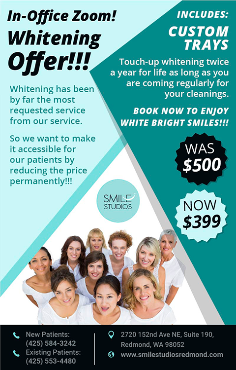 In-Office Zoom Whitening Redmond, WA area for patients big offer